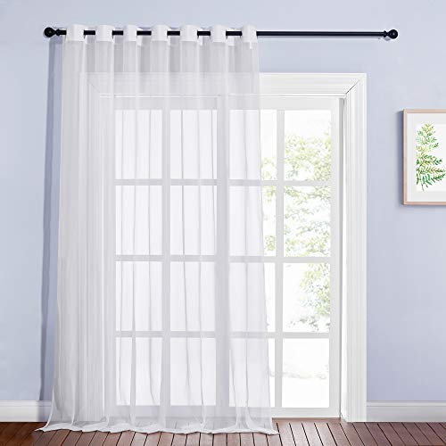 NICETOWN Living Room Window Curtain Extra Long & Wide, Grommet Casual Voile Sheer Airy Window Treatment Sweep to Floor for Sliding / French Door, Ivory, W100 x L108, 1 Panel