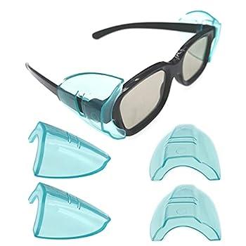 Safety Eye Glasses Side Shields,Slip On Clear Side Shields for Safety Glasses Fits Medium to Large Eyeglasses Frames 2 Pairs Blue