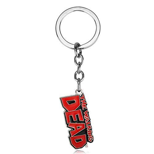 TUDUDU Película The Walking Dead Llavero Metal Carta Muerta Colgante Chaveiro Llaveros para Hombres Mujeres Porte Clef Joyería