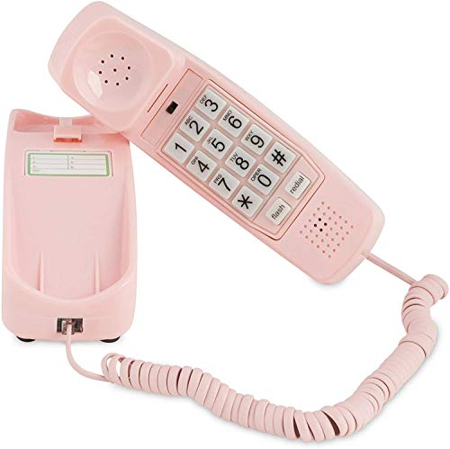 Corded Phone - Phones for Seniors - Phone for Hearing impaired - Ladies Pink - Retro Novelty Telephone + an Improved Version of The Princess Phones in 1965 - Style Big Button - iSoHo Phones