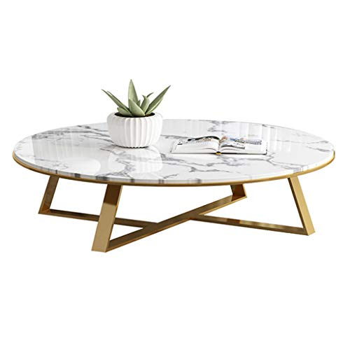 Luxury Marble Coffee Table for LOFT Villa Apartment, Mid-Century Round Side Table, Stainless Steel Frame, 80x80x45cm