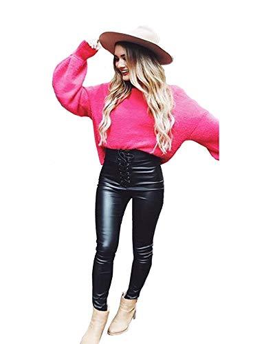 XSMG Dames Kleding Coating PU Imitatie leer Jeans Broek Metalen Opening Bandage Elastische Hoge Taille