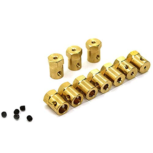 Hong TTH - Parts & Accessories 5Pcs/lot Hex Coupling 3mm 4mm 5mm 6mm 7mm 8mm Motor Flexible Coupling Tyre Wheel Brass Hex Coupler Set&Wrench (3mm 5pcs)