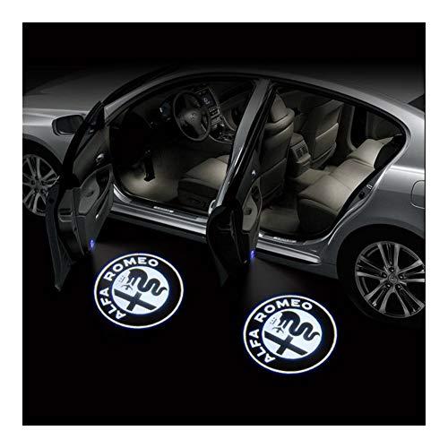 Autotür Willkommen Licht 2ST LED Auto-Tür-Willkommens-Licht Logo-Projektor kompatibel mit Alfa Romeo Giulia Giulietta Mito Stelvio Brera 147 156 159 GT Sensorleuchten ( Emitting Color : 02 )