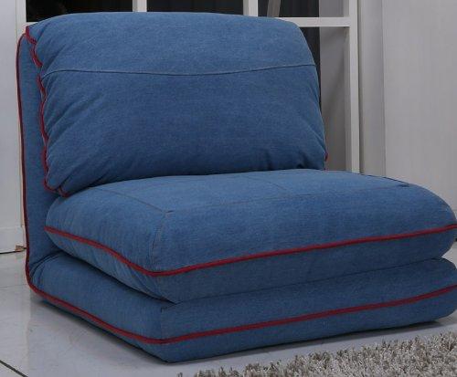 Schlafsessel Gästebett Jugendsessel Bettsessel (Stoffbezug Jeans Royal)
