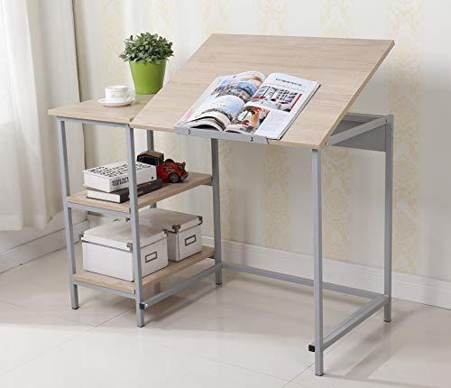 EBS Modern Verstellbarer Schreibtisch Zeichentisch Computer Tisch Kinderschreibtisch Lesetisch mit kippbaren Top und Regalen