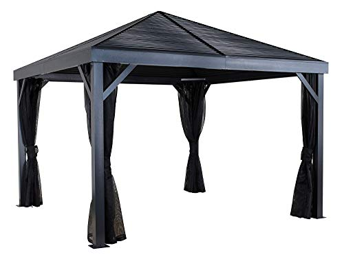 Sojag 12' x 12' South Beach Hardtop Gazebo Outdoor Sun Shelter with Mosquito Netting, Light Grey