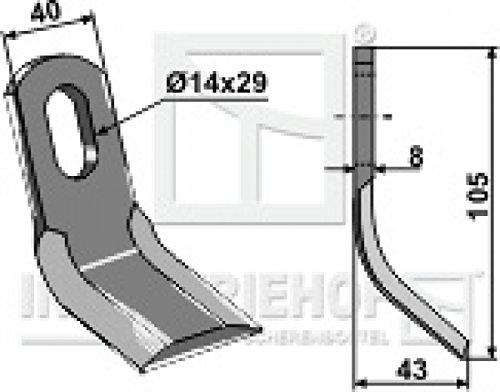 Y-Messer Mulchmesser 63-FEI-15 passend für Howard Ferri Orsi Mulcher