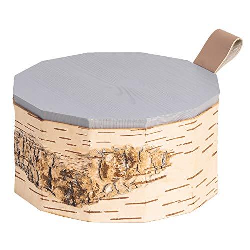 MOYA Keksdose/Gebäckdose/Servierkorb/Vorratsdose aus natürlicher Birkenrinde – antibakterielle und feuchtigkeitsabweisende Aufbewahrungsbox mit Holz-Deckel – ø19x10cm,1,5 Liter/Grau