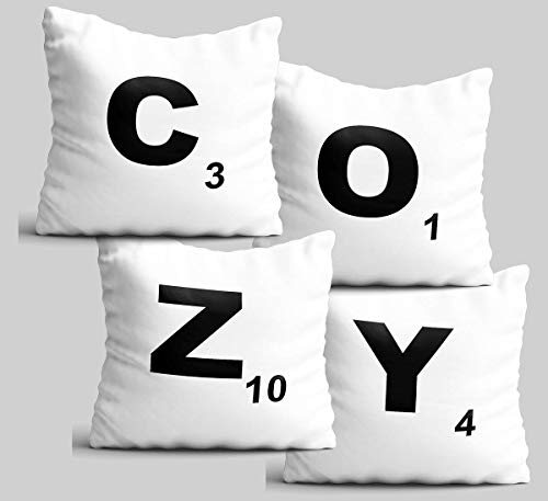 Ad4ssdu4 Juego de 4 fundas de almohada acogedoras para el hogar, decoración de salón, decoración de casa, regalo de bienvenida de color blanco, fundas de cojín de 45 x 45 cm