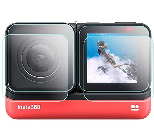 Komet 360 ONE - Pellicola protettiva compatibile per Insta360 ONE R Sports Videocamera ad azione adattiva 4K grandangolare, pellicola in vetro tempera