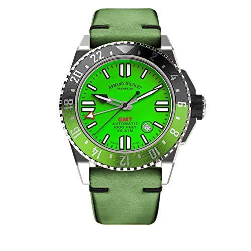 Orologio da Uomo Armand Nicolet Automatico GMT JSS Verde da Sub Impermeabile 300M