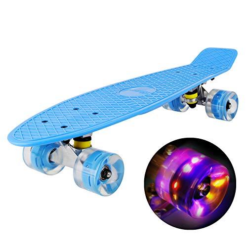 hausmelo Skateboard Mini Cruiser Retro Board Komplettboard für Anfänger Kinder Jugendliche und Erwachsene, 22 Zoll Komplett Board 57x16cm mit ABEC-7 Kugellager, LED PU Leuchtrollen, T-Tool (Blau)