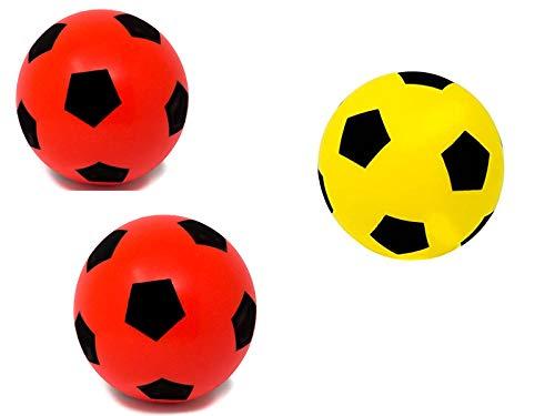 E-Deals - Balón de fútbol de Espuma Suave de 20 cm, 2 de Espuma roja y 1 Amarillo para Interior y Exterior, con Esponja Suave, Gran diversión para niños, niñas, Adolescentes y Adultos