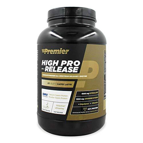 Premier Integratori High Pro Release - 1kg | Miscela di proteine del latte, proteine isolate del pisello,L-Arginina, Citrullina,vitamine del gruppo B (crema caffè)
