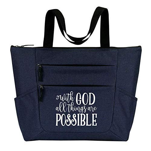 With God All Things Are Possible - Inspirational, Religious Zippered Tote Bag for Women - Perfect Gift - Great for Church, Work, Travel, School
