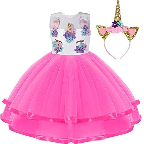Foierp Disfraz de unicornio para niña, disfraz de princesa, disfraz de carnaval, fiesta, boda, princesa, con cinta para la cabeza