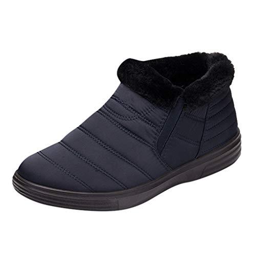 feiXIANG Damen Schuhe Wasserdicht Kurze Stiefel Warme Schneeschuhe Winter Verdicken Boots(Blau,42)