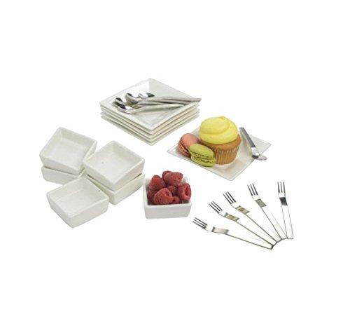 10 Strawberry Street 24-Piece Square Tidbit Serving Set with Mini Utensils, White