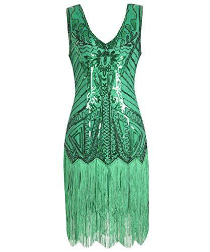 Geplaimir 20er Jahre Kleider Damen Flapper Dress Charleston Kleider V Ausschnitt The Great Gatsby Motto Party Fasching Karneval Kostüm Grün 013BM