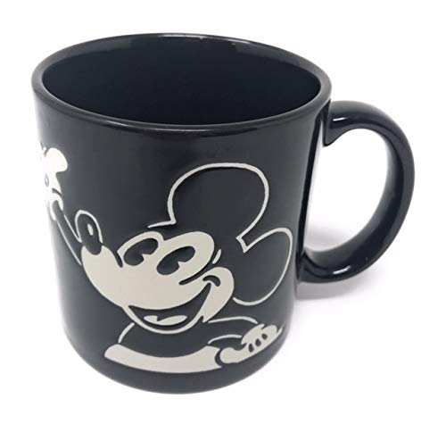 Disney Kaffeetasse, Keramik, Micky Maus geätzt, Schwarz