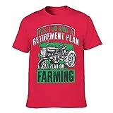 Druck Herren Baumwoll T-Shirt Landwirtschaftlicher LKW Bunt Hautfreundlich Landschaft T-Shirt red1 m