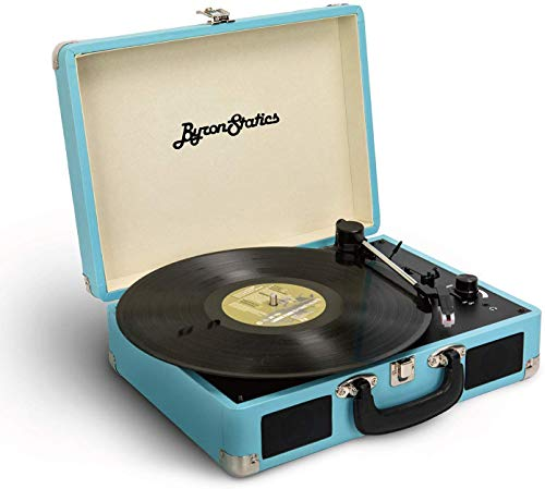 Byron Statics Vinyl Record Player, 3 Speed Turntable Bluetooth Record Player with 2 Built in Stereo Speakers, Replacement Needle, Supports RCA Line Out, AUX in, Portable Vintage Suitcase