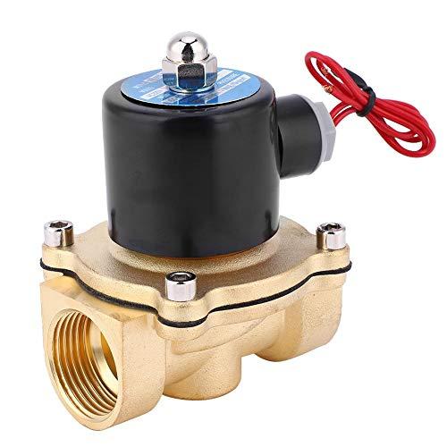 【𝐏𝐚𝐬𝐜𝐮𝐚】 Válvula solenoide de latón normalmente cerrada para aire agua aceite 1 pulg BSPP oro duradero(2W-250-25 12V)