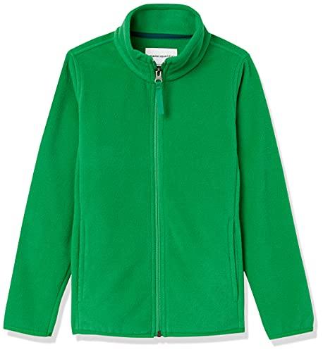 Amazon Essentials Boys' Polar Fleece Full-Zip Mock Jackets, Kelly Green, Small