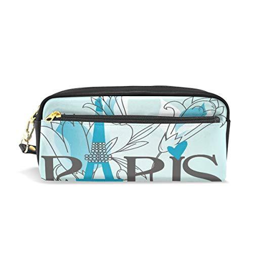 Kosmetische Schminktasche Reißverschlusstasche Geldbörse Graduation Art Blue Paris Eiffelturm Blume Romantischer Stift Stationäre Tasche Brillenetui für Student Boy Girl Pencil Case