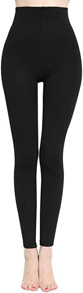 Fleece lined footless tights, black with moderate tummy control