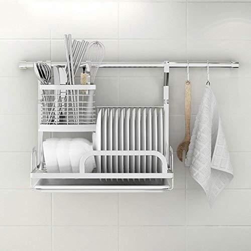 Yxsd Kitchen Storage Rack Estante para cocina de especias montado en la pared, estante de drenaje multifunción, acero inoxidable, 35,5 x 26 x 39,7 cm