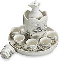 9ピース酒器、ウォーマーやトレイを持つ日本セラミックワイングラスセット、伝統的な磁器陶器カップ、家族や友人のための最高の贈り物