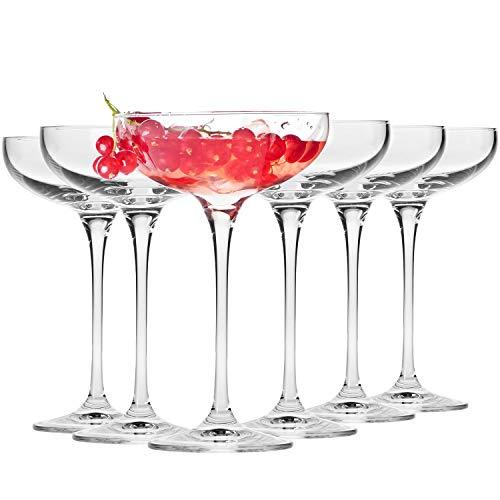 Krosno Sektschalen Sektgläser Champagner-Gläser | Set von 6 | 240 ML | Harmony Kollektion | Perfekt für Zuhause, Restaurants und Partys | Prosecco Glas | Spülmaschinenfest