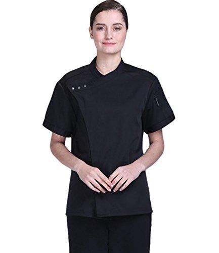 Dooxi Unisex Herren und Damen Sommer Kurzarm Kochjacke Mode Kuchen Backen Uniform Berufsbekleidung Schwarz M