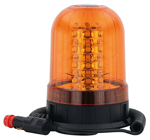 AdLuminis Große LED Rundumleuchte Orange Mit Magnetfuß, Blinkleuchte 12V 24V, ECE R65 Straßenverkehr Zulassung, KFZ Warnleuchte