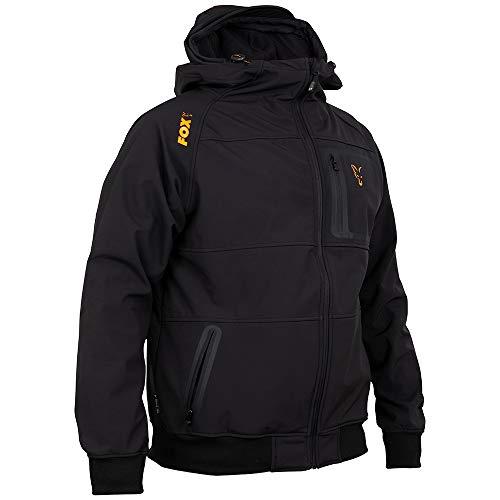Fox Collection Black Orange Shell Hoodie - Angelpullover für Angler, Kapuzenpullover, Hoody, Kapuzenpulli, Softshell Pullover, Größe:XL