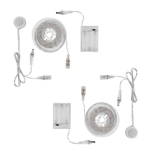 2er Set 30er LED Leuchtleiste weiß mit Bewegungsmelder und Timer Lights4fun