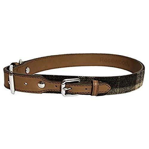 Rosewood - Elegante collare per cane in pelle e tweed, motivo scozzese