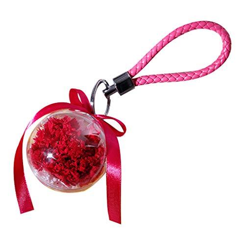 Hniunew Rose SchlüSselbund Valentinstag Keychain Bunte Kristall SchlüSselanhäNger Ring Bling Strass AnhäNger Romantisches Haus SchlüSselring- Glasperlen Schmuck FüR Geburtstagsgeschenk