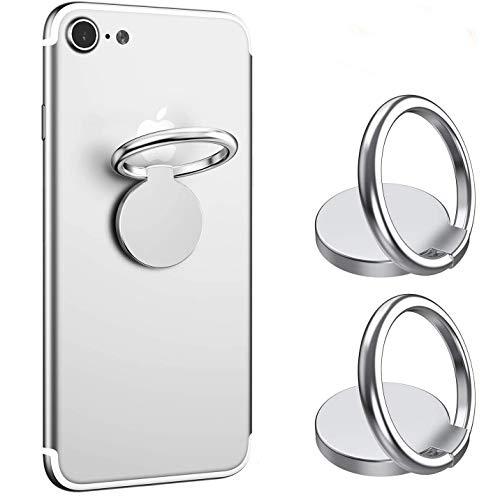 ICHECKEY Agarre del Anillo del Teléfono Celular, 360 ° Titular Ajustable del Anillo de Dedo, Compatible con iPhone iPad Samsung Teléfonos Inteligentes Tableta (Plata),2 Packs