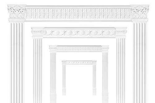 Türumrandung DK05 - Rahmen aus PU Kunststoff weiß, Sets-/ & Komponentenauswahl - Grand Decor (Kapitell PL267)