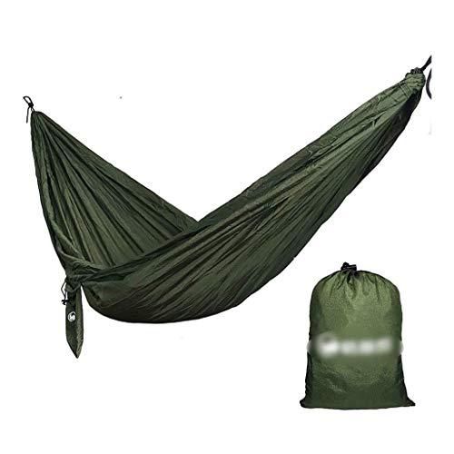 Hamacs, Meubles de Camping Tissu de Parachute extérieur à Double balançoire adapté à Plusieurs scènes Charge Anti-retournement 300 kg (Couleur: Vert armée, Taille: 270 * 140 cm) Confortable