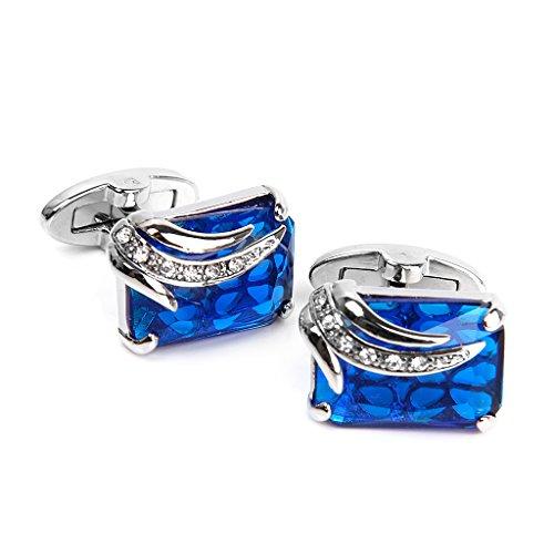 Générique 1 paire Homme Boutons de Manchette Rectangle pour Fête de Mariage Marié Cadeau - Bleu