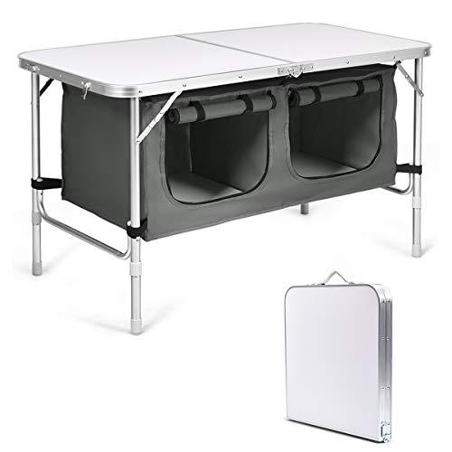 COSTWAY Campingküche mit großem Stauraum, Reiseküche Klapptisch Alu Höhenverstellbar von 53-70cm, Gartentisch Picknicktisch Campingschrank (Grau)