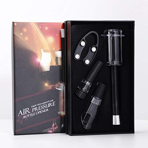 cavatappi vino 4 in 1, apribottiglie a pressione dell'aria + beccuccio per ventilare vino + tappo per vini + tagliacapsule + set regalo