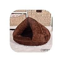 ペット犬猫洞窟イグルーベッドバスケットハウス子猫柔らかい居心地の良い屋内クッション犬小屋暖かい洗える巣、コーヒー、L