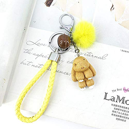 QWERTYU Rabbit Keychain Pokemon Fluffy Fur Ball Key Chains Bags Pendant Decoration Keyring Fashion Kids Easter Gifts,yellow