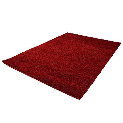 Carpet City ayshaggy Shaggy Teppich Hochflor Langflor Einfarbig Uni Rot Weich Flauschig Wohnzimmer, Größe: Läufer 80 x 150 cm, 80 cm x 150 cm