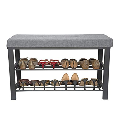 Simplify Storage Bench, Shoe Rack, Ottoman, Tufted, Padded Seating for Entryway, Bedroom, Closet & Hallway, Grey